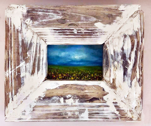 "Mini Flower Field, 6 x 8"" Oil on Wood, Custom Built Frame, Inquire For Price"