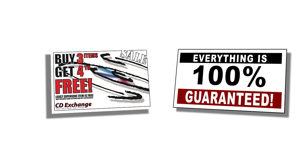 CD Exchange Muskegon Buy 3 Get 1 Free offer, and Everything is 100% Guaranteed.