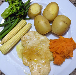 Turkey Steaks with Ginger Sauce and Potatoes
