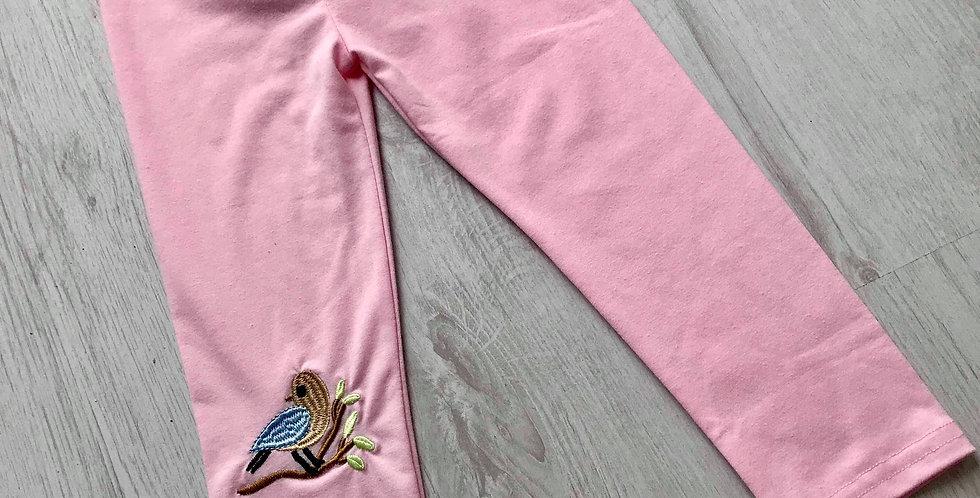 Bird Embroidered Pink Leggings