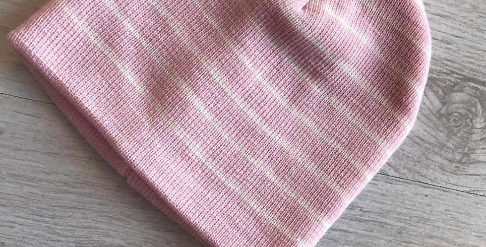 Pink & White Striped Winter Hat