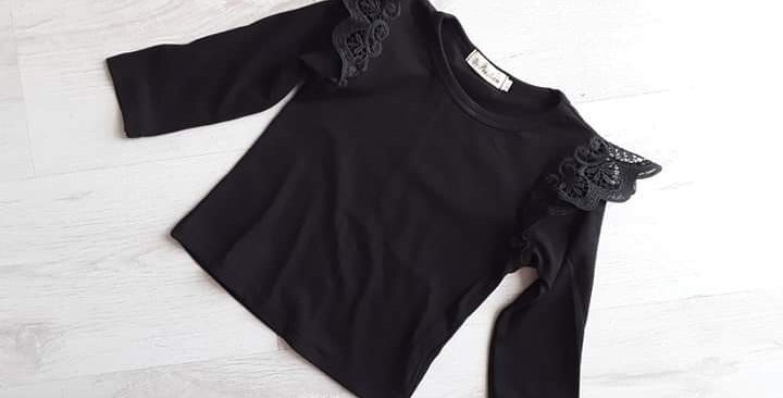 Lace Wing Long Sleeve Top Black