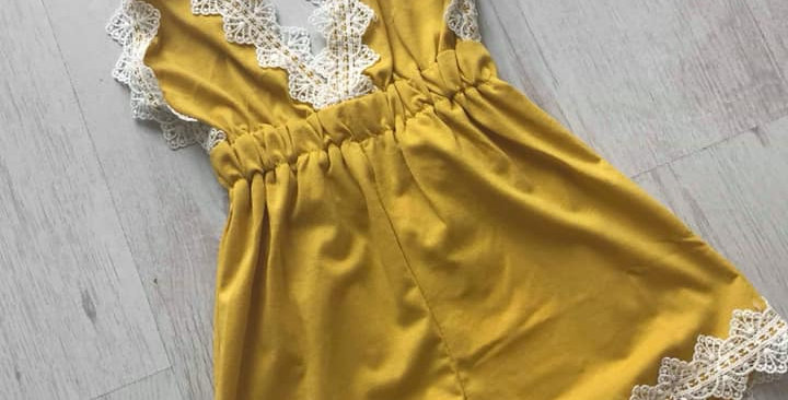 Mustard Lace Playsuit