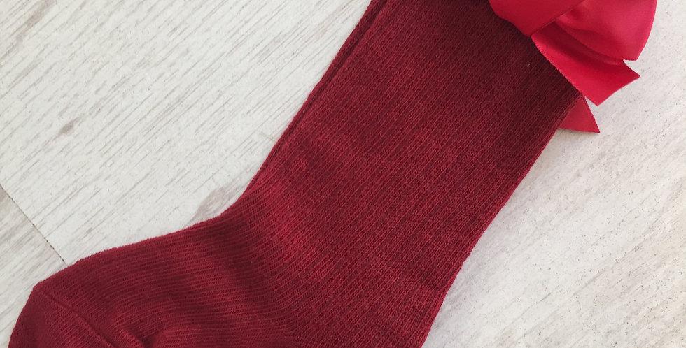 Knee High Red Bow Socks