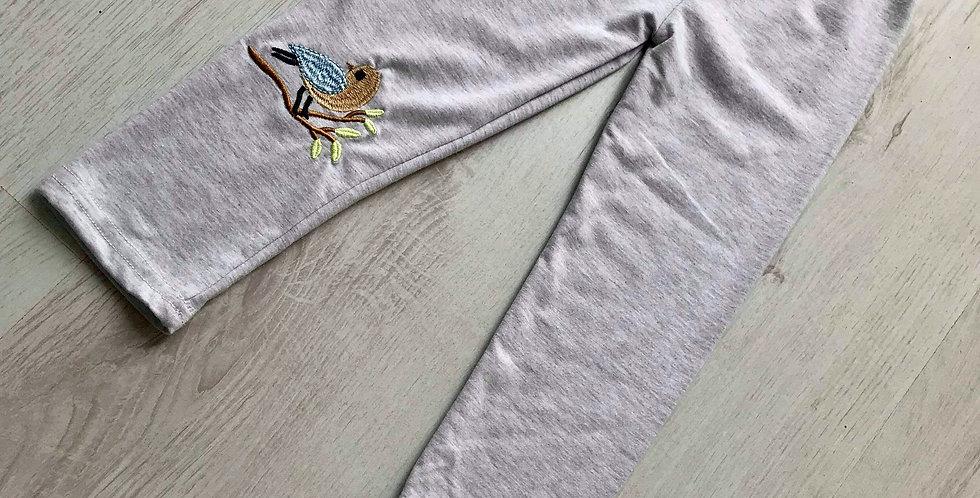 Bird Embroidered Grey Leggings