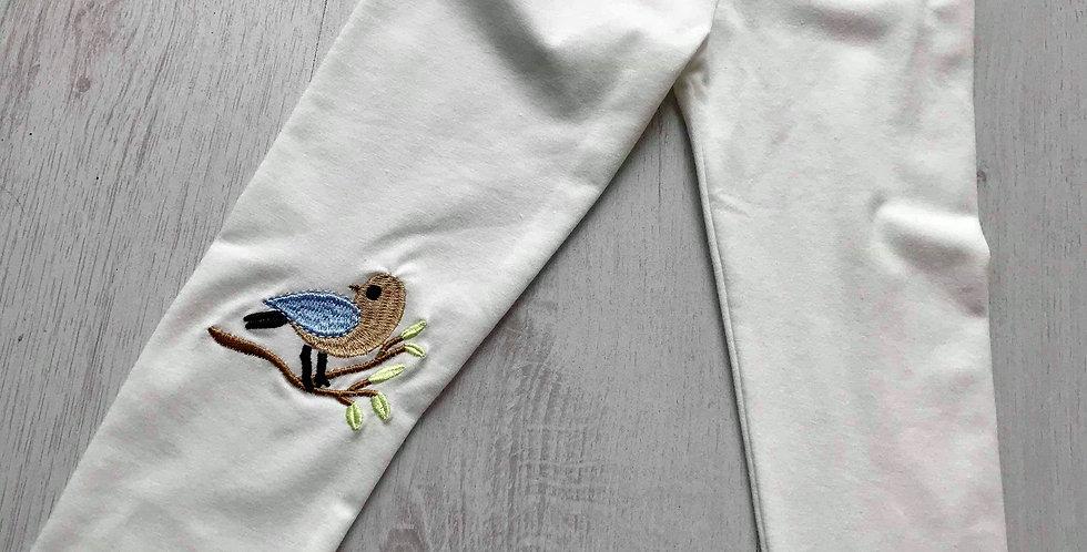 Bird Embroidered White Leggings