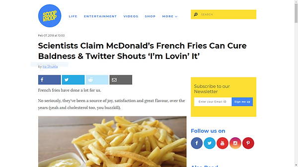 """Scientists claim McDonald's French Fries can cure baldness and Twitter shouts 'I'm Lovin' It"""""""