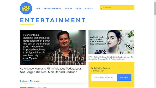 Scoopwhoop Entertainment Main page