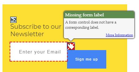 Missing form label (1.1.1, 1.3.1, 3.3.2)