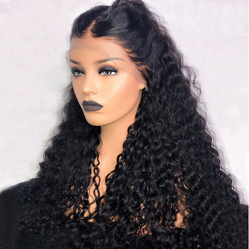 Pre Plucked Kinky Curly High Ponytail Virgin Brazilian Human Hair 360 Lace Wig