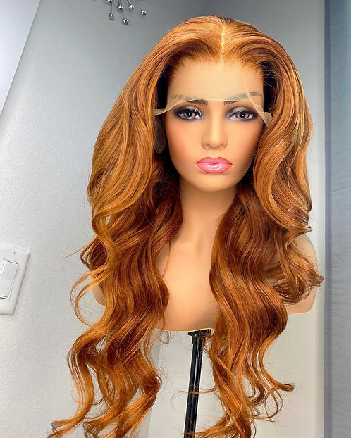 Ginger Blonde Orange Color Loose Wave Brazilian Human Hair Lace Front Wigs