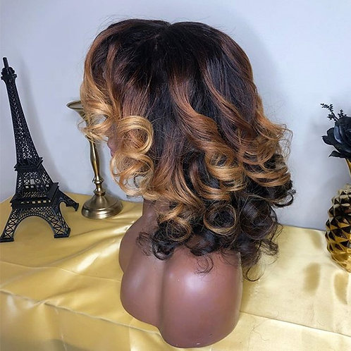 10A Virgin Hair Body Wave Ombre Frontal Wig With Elastic Band Bang