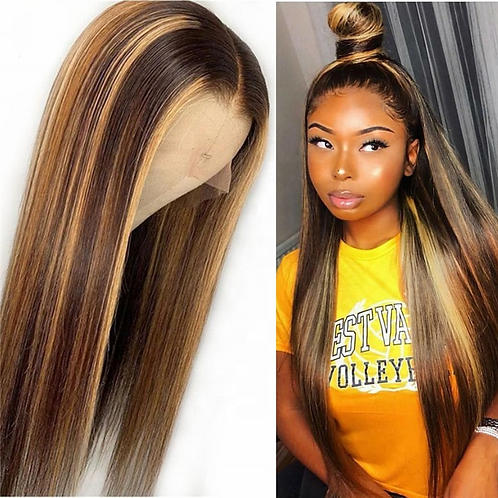 Virgin Human Hair Lace Front Wig Honey Blonde Color Highlight 14-26 Inches