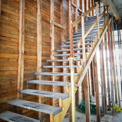 Anxious to strip the wood off of this  accent concrete floating staircase feature wall