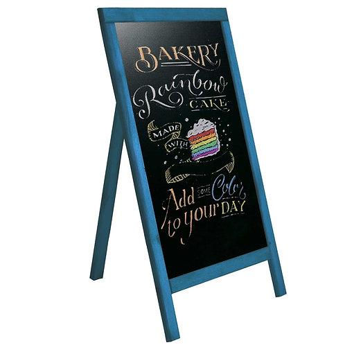 Menü Yazı Tahtası Tek Taraflı Dekoratif Kara Tahta 50cm x 90cm Alaçatı Mavi