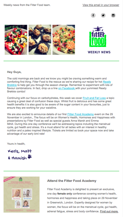 Fitter Food Weekly Newsletter