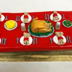 Thanksgiving Table Cake