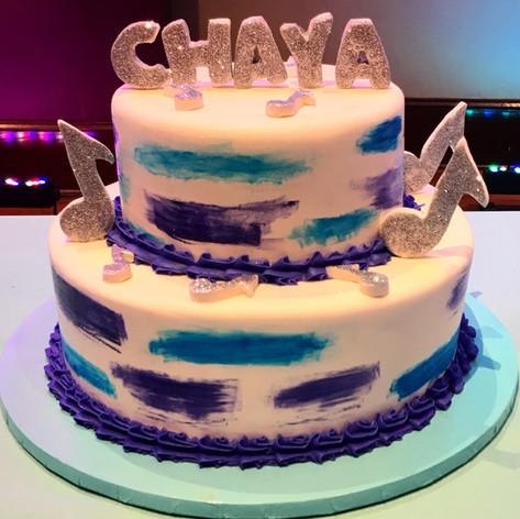 Purple and Blue Bat Mitzvah Cake