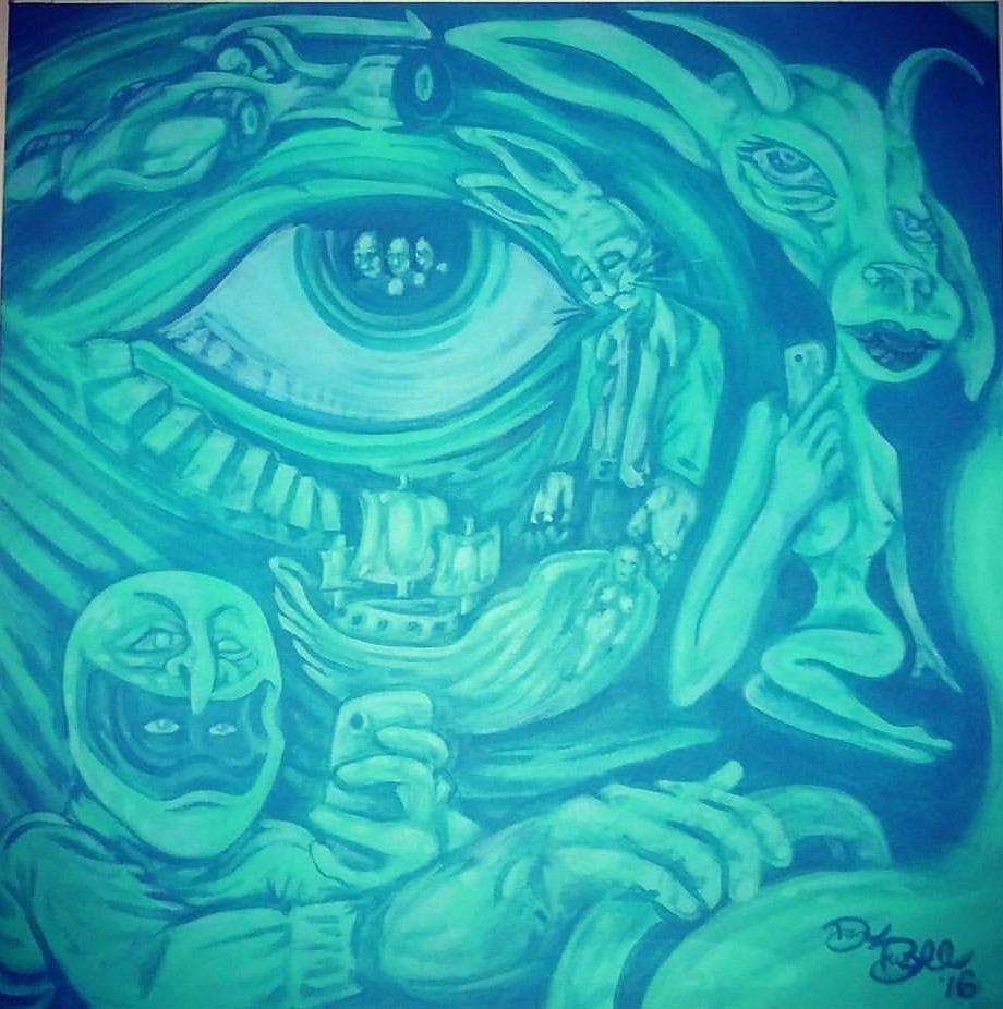 """""""Selfie Ship"""" 24 x 24 acrylic on canvas"""