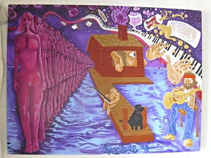 """Koda and the Hermit"" 36 x 48 acrylic on canvas"