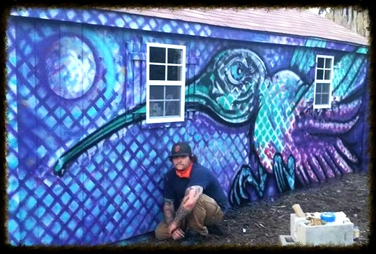"""Pollenator"" spray paint on wood"