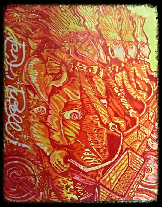 """BirdsonBikes"" spray paint, acrylic, and paint pen on canvas"
