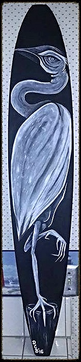 """Heron""acrylic on longboard"