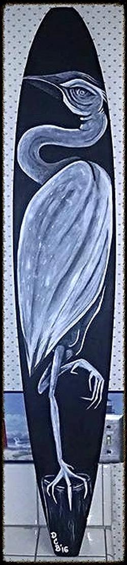 """""""Heron""""acrylic on longboard"""