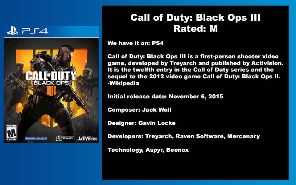 W- DESCRIPTION - Call of Duty Black Ops.