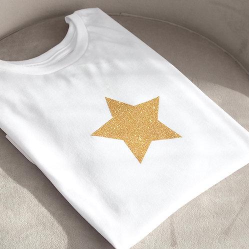 White Glitter Star T-Shirt