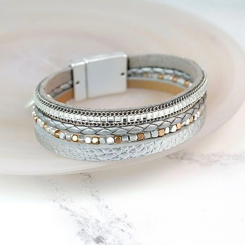 Silver and Gold Leather Cuff