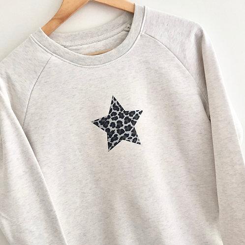 Silver Leopardskin Star Sweatshirt