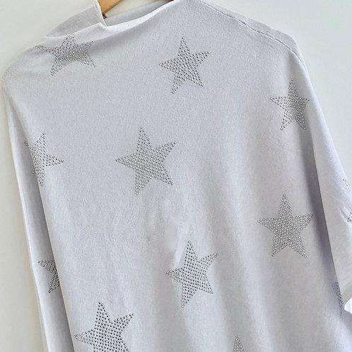 Silver Grey Star Poncho