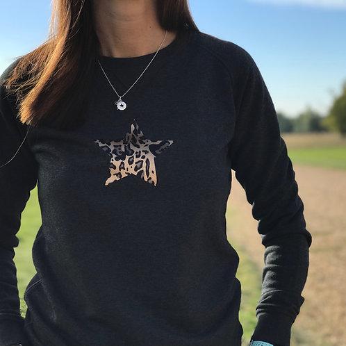 Charcoal Leopardskin Star Sweatshirt