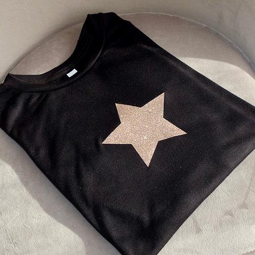Black Glitter Star T-Shirt