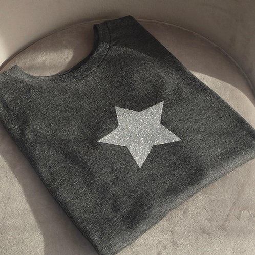 Grey Glitter Star T-Shirt
