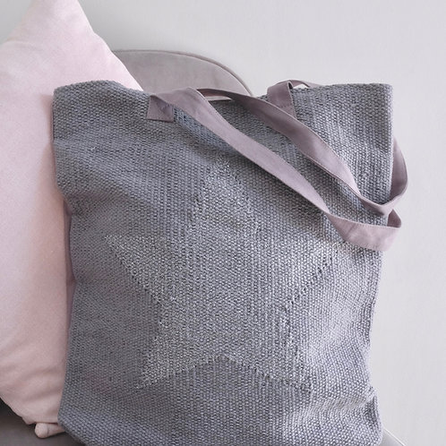 Grey Star Cotton Tote Bag