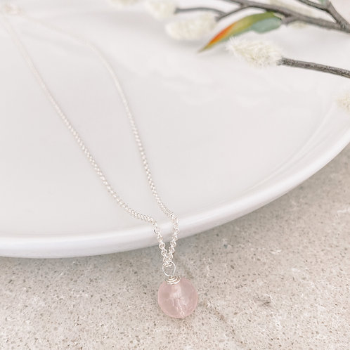 Rose Quartz Orb Necklace