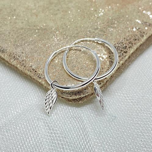 Tiny Angel Wing Hoop Earrings