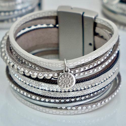 Silver Leather Strands Cuff Bracelet