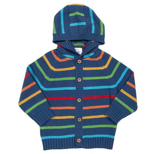 Stripy Knit Hoody - Kite