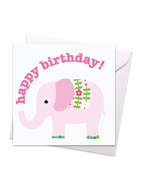 Pink Elephant Birthday Card - Toby Tiger