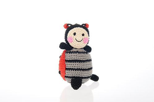 Ladybird - Knitted Baby Rattle - Pebble Toys