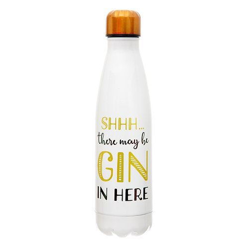 Shh... There's Gin In Here Steel Water Bottle - Sass & Belle