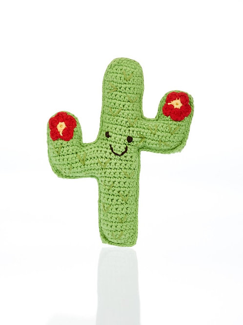 Friendly Cactus with Red Flowers - Crochet Cotton Baby Rattle - Pebble Toys