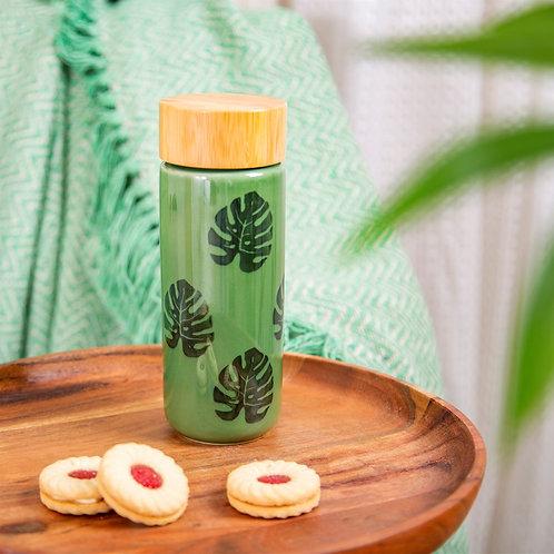 Cheese Plant Leaf Ceramic Bottle - Sass & Belle