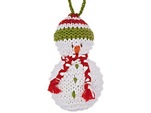 Snowman - Knitted Christmas Decoration - Pebble Toys