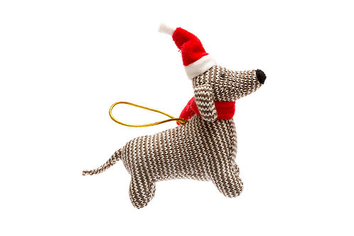 Sausage Dog - Knitted Christmas Decoration - Pebble Toys