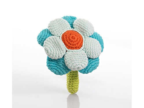 Flower Rattle - Knitted Toy - Pebble Toys