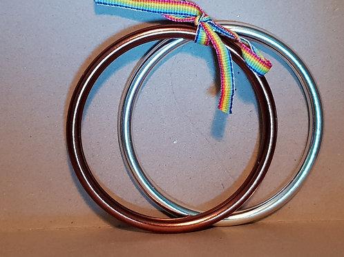 Mismatched Large Sling Rings - Silver/Bronze (polished)
